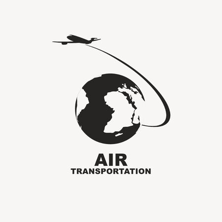 Vector banner icon with a passenger plane flying around the planet Earth. Black and white illustration. Air transportation.