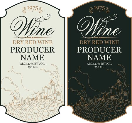 Set of two vector wine labels with calligraphic inscription and contour drawing of rural landscape in figured frame in retro style Illustration