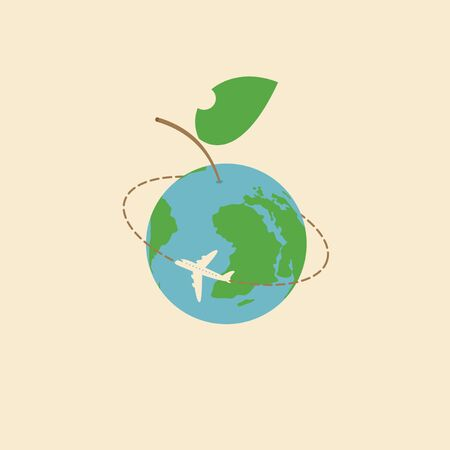 Vector banner with a passenger plane flying around the planet Earth in the form of an Apple with green leaf. Air transportation.