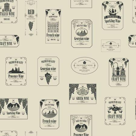 Modèle sans couture de vecteur sur le thème du vin avec diverses étiquettes de vin avec des images de raisins, paysages, cave, châteaux, voiliers, fruits et autres dans un style rétro sur fond beige