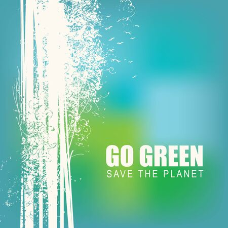 Vector illustration on the theme of environmental protection with the words Go green, Save the planet. Abstract silhouettes of trees on a blurred blue background. Eco Poster Concept