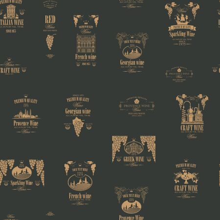 Vector seamless pattern on the theme of wine with various wine labels with images of grapes, landscapes, winery, castles, sailboats, fruits and other in retro style on the dark background