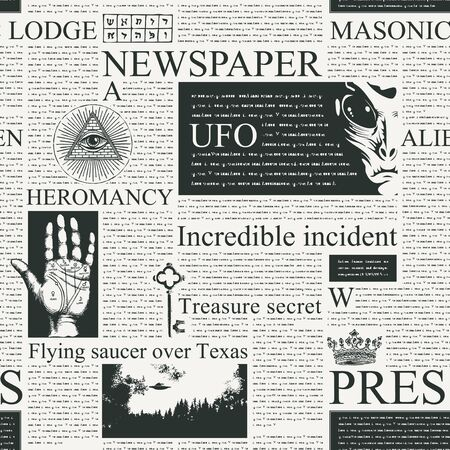 Vector seamless pattern with newspaper columns. Repeatable newspaper background with black unreadable text, headlines, illustrations on the theme of magic, metaphysics, palmistry, alien civilizations Illustration