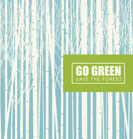 Vector illustration on the theme of environmental protection with the words Go green, Save the forest. Birch grove on a background of blue sky. Eco Poster Concept Vektorové ilustrace