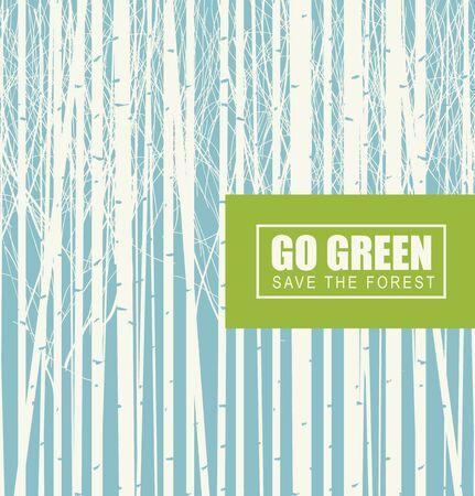 Vektorgrafik zum Thema Umweltschutz mit den Worten Go green, Save the Forest. Birkenhain auf einem Hintergrund des blauen Himmels. Öko-Poster-Konzept Vektorgrafik