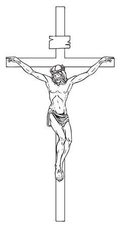 Vektorillustration des religiösen Symbolkruzifixes. Jesus Christus, der Sohn Gottes in einer Dornenkrone auf seinem Haupt, ein Symbol des Christentums. Kreuz mit Kreuzigung, Bleistiftzeichnung. Vektorgrafik