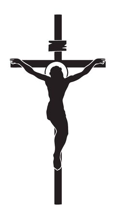 Vector illustration of religious symbol crucifix. Jesus Christ, the Son of God with a halo on his head, a symbol of Christianity. Cross with crucifixion Illustration