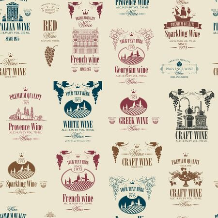 Vector seamless pattern on the theme of wine with various wine labels with images of grapes, landscapes, winery, castles, sailboats, fruits and other in retro style on the beige background