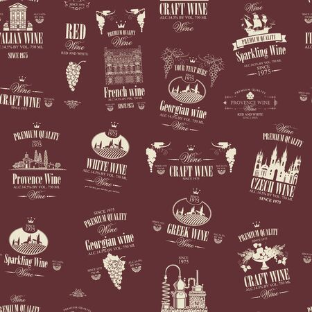 Vector seamless pattern on the theme of wine with various wine labels with images of grapes, landscapes, winery, castles, sailboats, fruits and other in retro style in burgundy and beige colors