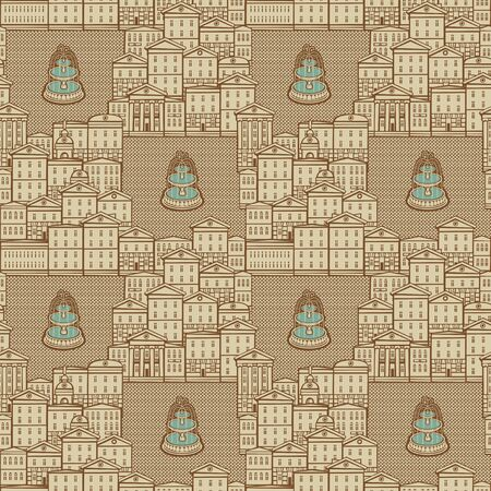 Vector seamless pattern with old hand drawn houses in retro style. Cityscape background, can be used as wallpaper, wrapping paper, textile, fabric Иллюстрация