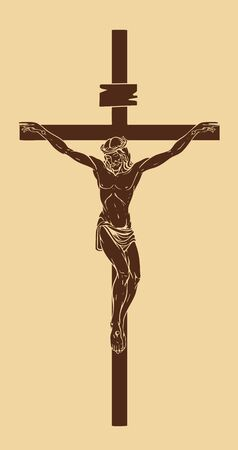 Vector illustration of religious symbol crucifix. Jesus Christ, the Son of God in a crown of thorns on his head, a symbol of Christianity. Cross with crucifixion