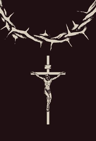 Vector illustration of religious symbol crucifix. Jesus Christ, the Son of God and a crown of thorns. Cross with crucifixion, a symbol of Christianity