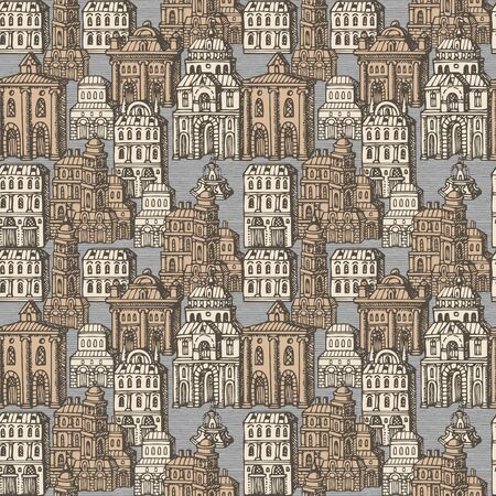 Vector seamless pattern with old hand drawn houses in retro style. Cityscape background with old style building facades and fountains, can be used as wallpaper, wrapping paper, textile, fabric Foto de archivo - 129681573