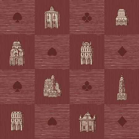 Vector seamless pattern with old hand-drawn houses in retro style. Repeatable background with old style buildings and signs of card suits. Suitable for Wallpaper, wrapping paper, textile, fabric