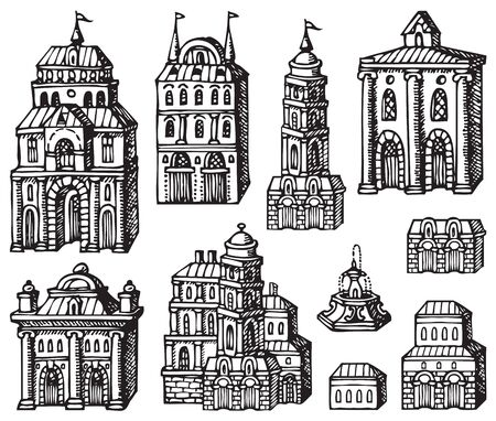Set of hand drawn houses, old style building facades. Old houses, city buildings, doodle decorative elements collection. Outline black and white vector illustration. Coloring for children and adults. Foto de archivo - 129681580