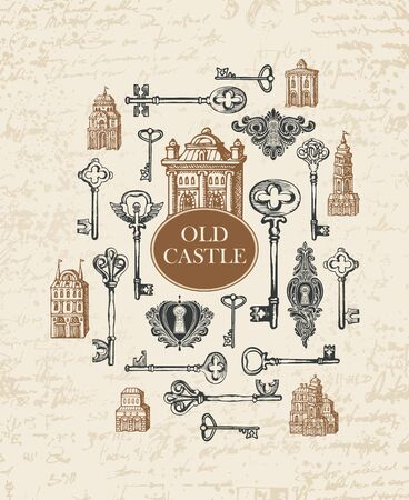 Vector banner with vintage keys, keyholes, old building and inscription Old castle. Hand-drawn illustration in retro style on abstract background of faded old manuscript with spots and blots Foto de archivo - 129681583