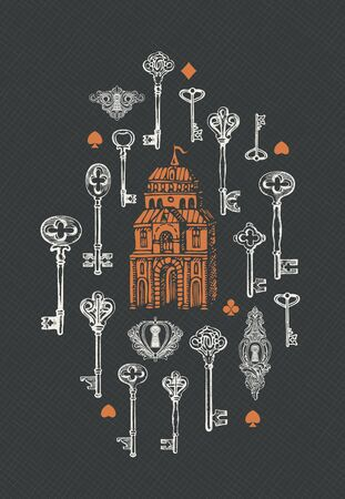 Vector banner with vintage keys, keyholes and old building in retro style. Hand-drawn illustration on a dark checkered background Foto de archivo - 129681579