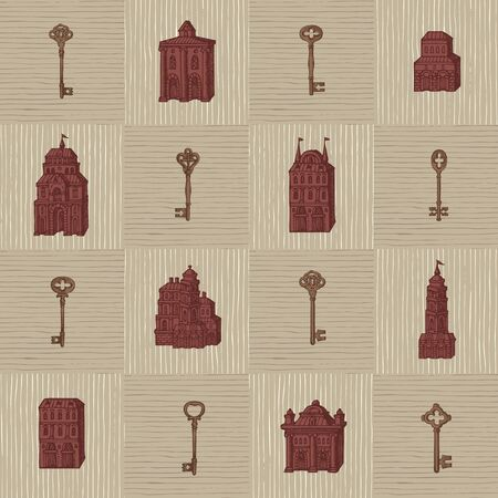 Vector seamless pattern with hand-drawn keys and old buildings in retro style. Repeatable background with old style houses facades. Suitable for wallpaper, wrapping paper, textile, fabric Foto de archivo - 129681582