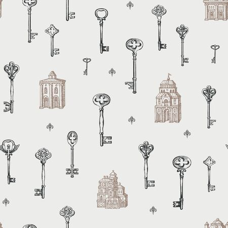 Vector seamless pattern with vintage keys and old buildings in retro style. Hand drawn illustrations on the light background. Wallpaper, wrapping paper, fabric, textile Foto de archivo - 129681584