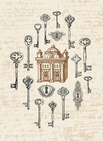 Vector banner with vintage keys, keyholes and old house in retro style. Hand-drawn illustration on an abstract background of an old manuscript with spots and blots Foto de archivo - 129681585