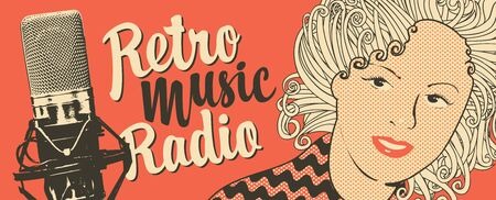 Vector banner for radio station with studio microphone, woman face and inscription Retro music radio. Radio broadcasting concept. Suitable for banner, ad, poster, flyer Иллюстрация