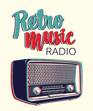 Vector banner for radio station with an old radio receiver and inscription Retro music radio. Radio broadcasting concept. Suitable for banner, ad, poster, flyer