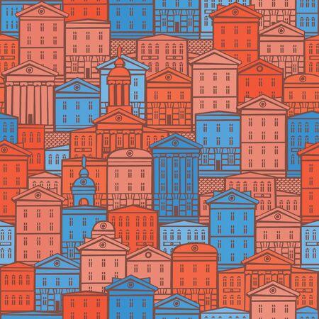 Vector seamless pattern with old hand drawn buildings in retro style. European town with colorful cartoon houses. Cityscape background, can be used as wallpaper, wrapping paper, textile, fabric