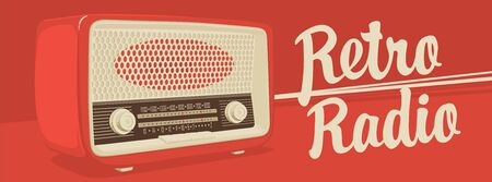 Vector banner for radio station with an old radio receiver and inscription Retro radio on the red background. Radio broadcasting concept. Suitable for banner, ad, poster, flyer