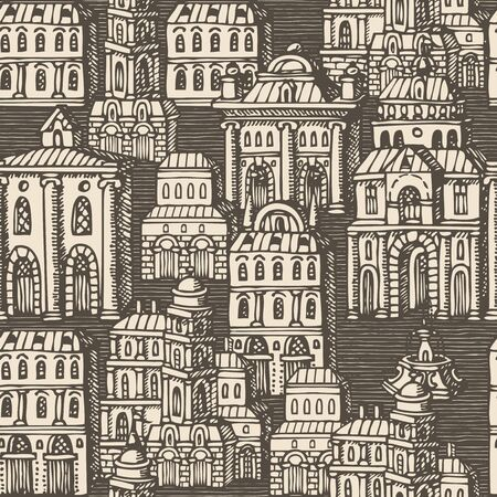 Vector seamless pattern with old hand drawn houses in retro style. Cityscape background with old style building facades and fountains, can be used as wallpaper, wrapping paper, textile, fabric Foto de archivo - 129681687
