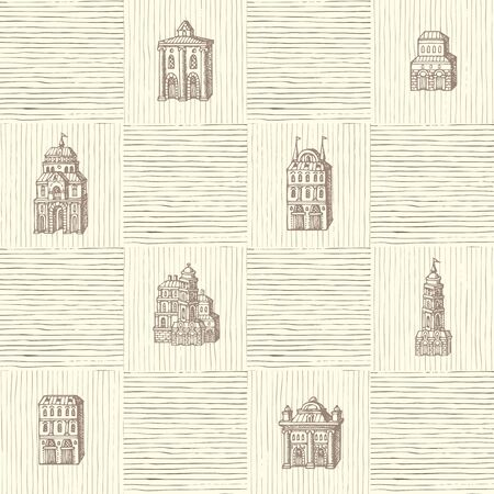 Vector seamless pattern with old hand drawn houses in retro style. Repeatable background with old style building facades. Suitable for wallpaper, wrapping paper, textile, fabric