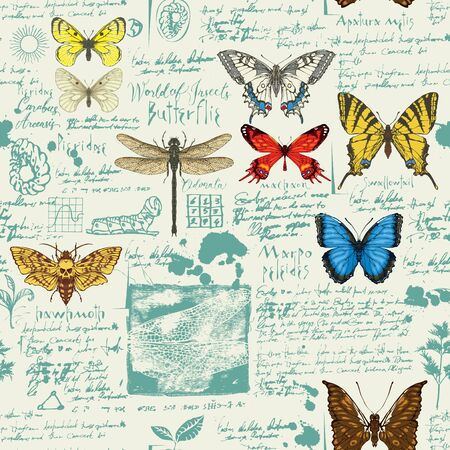 Vector seamless abstract pattern with butterflies. Colorful butterflies, ink spots, sketches and notes on the old manuscript background. Suitable for wallpaper, wrapping paper, textile, fabric