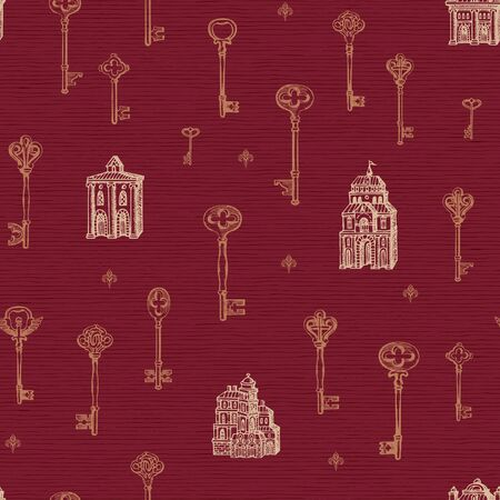 Vector seamless pattern with vintage keys and old buildings in retro style. Hand drawn illustrations on the red background. Wallpaper, wrapping paper, fabric, textile Foto de archivo - 129681693