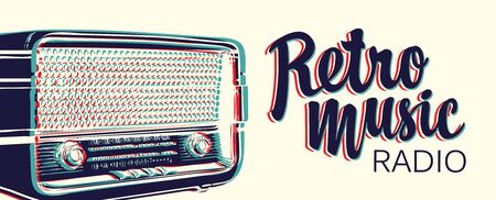 Vector banner for radio station with an old radio receiver and inscription Retro music radio. Radio broadcasting concept. Suitable for banner, ad, poster, flyer Фото со стока - 129681694