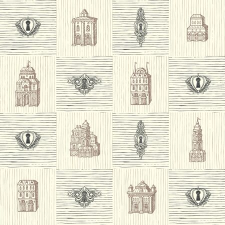 Vector seamless pattern with hand-drawn keyholes and old buildings in retro style. Repeatable background with old style houses facades. Suitable for wallpaper, wrapping paper, textile, fabric Foto de archivo - 129681733