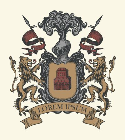 Vector heraldic Coat of arms in vintage style with shield, knightly armor, spears, helmet, lions, ribbon and castle. A medieval heraldry, emblem, sign, symbol. Hand-drawn color image. Stock Illustratie