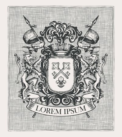 Vector heraldic Coat of arms in vintage style with knightly shield, spears, crown, lions, ribbon, keys and fleur de lis. A medieval heraldry, emblem, symbol. Hand-drawn image, engraved illustration.
