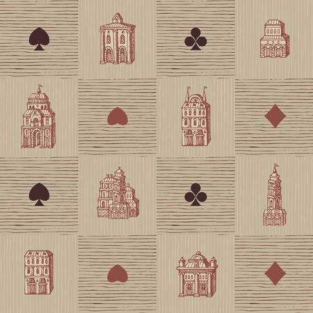 Vector seamless pattern with old hand-drawn houses in retro style. Repeatable background with old style buildings and signs of card suits. Suitable for Wallpaper, wrapping paper, textile, fabric Foto de archivo - 129681864
