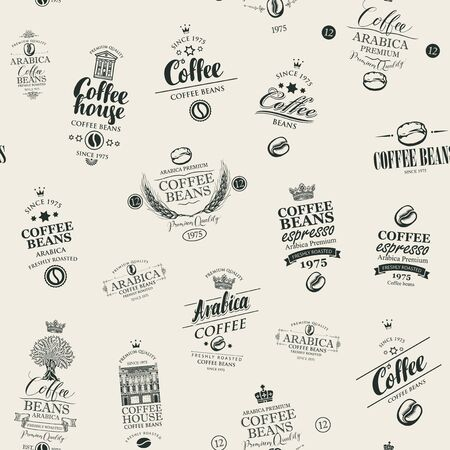 Vector seamless pattern on coffee and coffee house theme with various labels in retro style on the beige Stock Illustratie