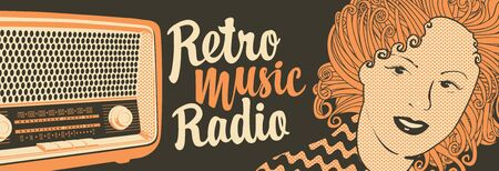 Vector banner for radio station with an old radio receiver, woman face and inscription Retro music radio. Radio broadcasting concept. Suitable for banner, ad, poster, flyer Фото со стока - 129681888