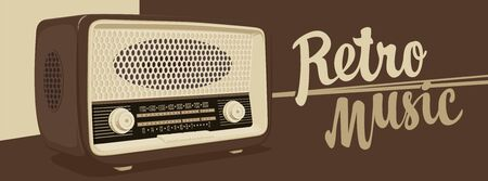 Vector banner for radio station with an old radio receiver and inscription Retro music. Radio broadcasting concept. Suitable for banner, ad, poster, flyer