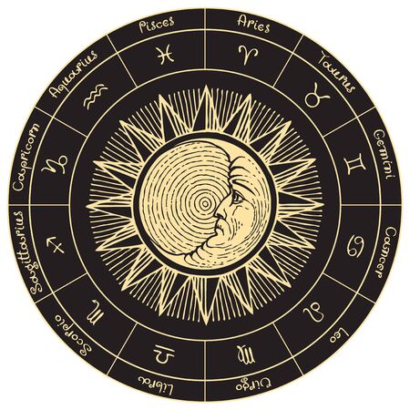 Vector circle of the Zodiac signs in retro style with icons, names, hand-drawn Sun and Moon in black and gold colors.