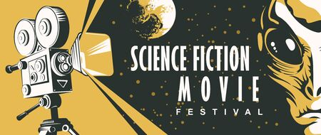Vector poster for fiction movie festival with old fashioned movie camera, alien face and moon on the staryy sky. Suitable for poster, flyer, billboard, web design, ticket, advertising