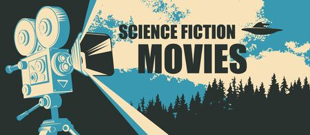 Vector poster for fiction movie festival with old-fashioned movie camera and flying saucer on the backdrop of the earth landscape. Suitable for poster, flyer, billboard, web page, ticket, advertising