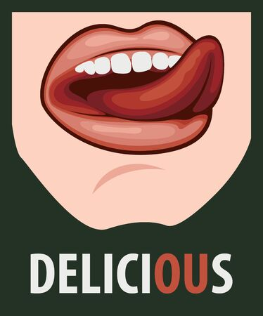 Vector illustration with sexy female mouth and inscription Delicious on the black