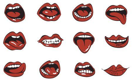 Collezione di labbra rosse. Vettoriali