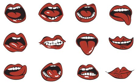 Red lips collection. Illustration