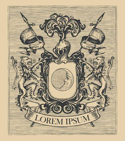 Vector heraldic Coat of arms in vintage style with shield Vektoros illusztráció