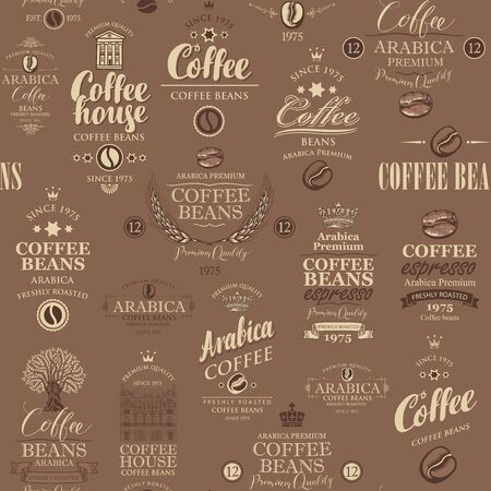 Vector seamless pattern on coffee and coffee house theme with various labels in retro style on the brown