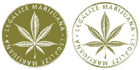 Vector banner for legalize marijuana with cannabis leaf.