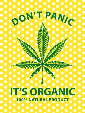 Vector banner for legalize marijuana with cannabis leaf on a  of polka dots.